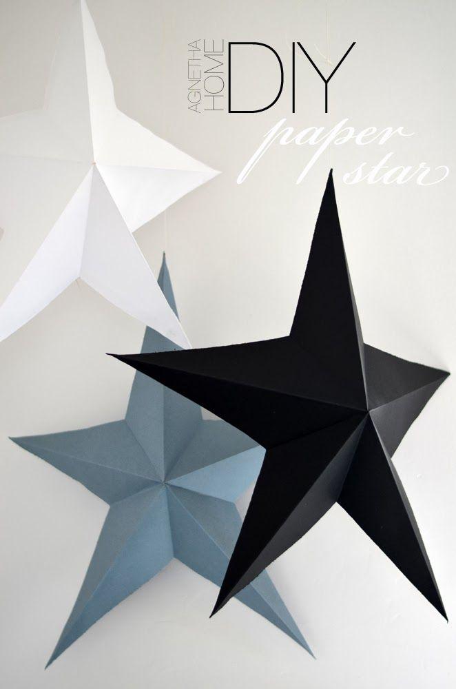 PAPER STAR 3D - DIY autre technique pliage et découpage pas besoin de dessiner l'étoile
