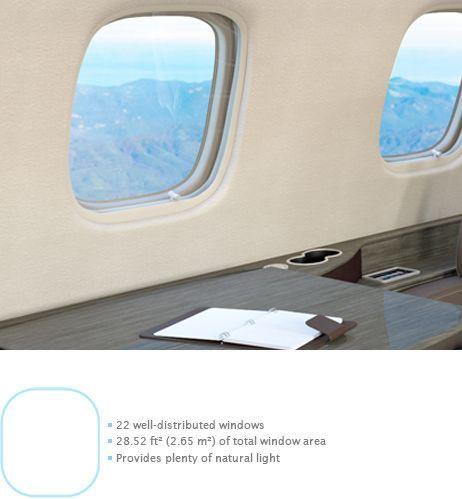 Legacy 650 Large Executive Jet Window Options