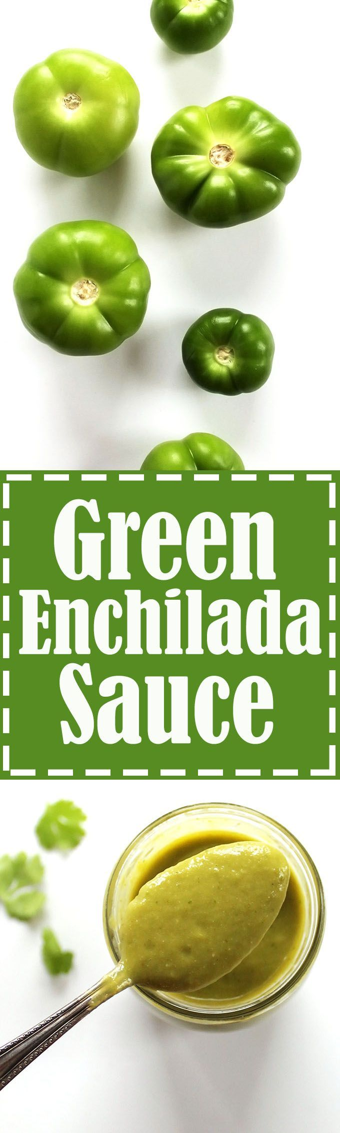 Roasted Green Enchilada Sauce - Creamy spicy-smoky sauce that's great for enchiladas. Also good on tacos, eggs, chicken etc. This recipe is EASY to make: roast everything, then blend! Vegan/Gluten Free. | robustrecipes.com