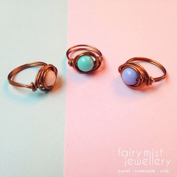 Cute Wire Wrapped Ring Pastel Bronze Rings by fairymistjewellery