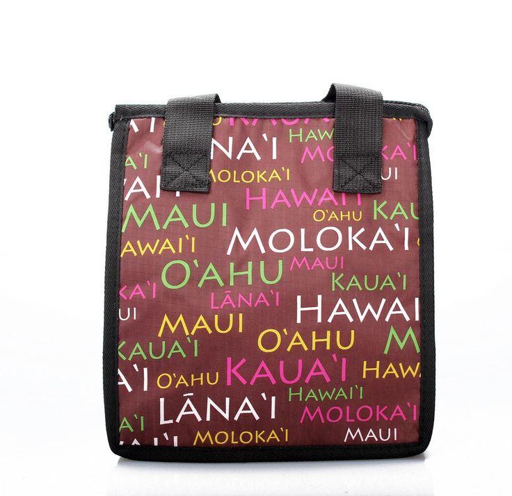 Hawaiian Print Thermal Insulated Zipper Lunch Bag Hawaii Island Names in Brown