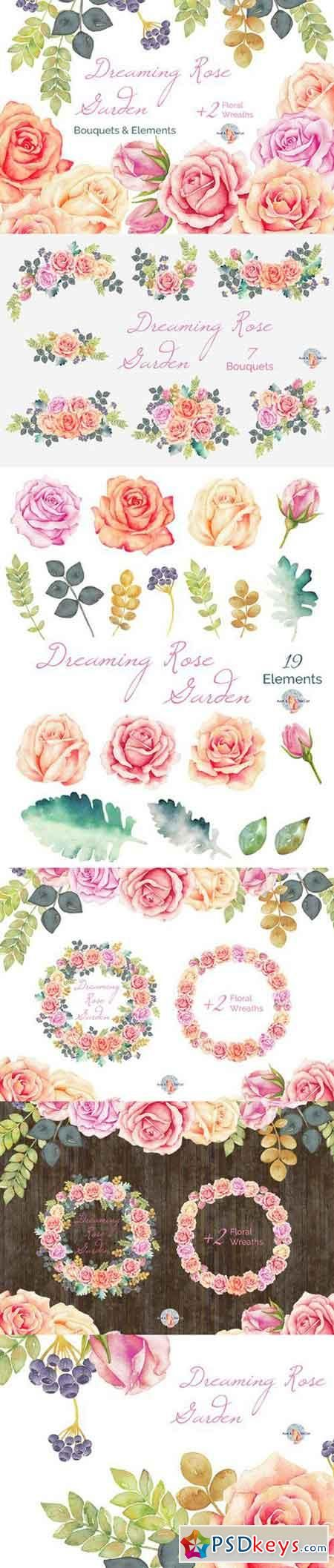 Dreaming Rose Garden Watercolor 448697