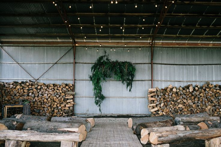 Rustic Logs Wedding Ceremony Styled by @nomadstyling Photography by > Elk and willow