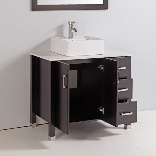 Legion Furniture WA6236 36-in Solid Wood Bathroom Vanity with Sink, Mirror, and Faucet at ATG Stores