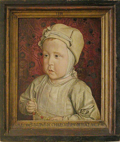 Jean HEY (le MAÎTRE DE MOULINS)    Le dauphin Charles-Orlant  Décembre 1494    Mort en bas âge, le dauphin de France Charles-Orlant (1492 - 1495), fils de Charles VIII et d'Anne de Bretagne, est représenté lorsqu'il avait un peu plus de deux ans.