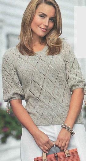 Вязание спицами свитера женские белые с ромбиками