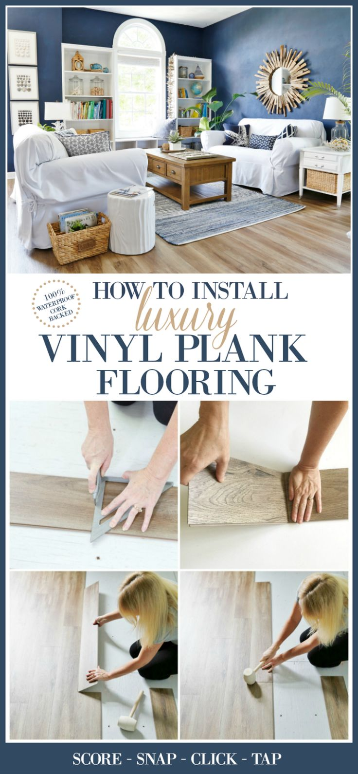 How to Install Luxury Vinyl Plank Flooring. This 100% waterproof, cork backed flooring is easy to install for a DIY-er, requires no nails or glue, and has a lifetime warranty!