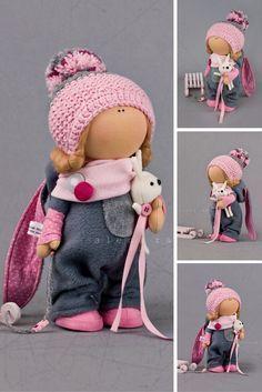 Winter doll Tilda doll Interior doll Textile doll Pink doll Soft doll Fabric doll Cloth doll Decoration doll Unique doll Art doll: https://www.etsy.com/listing/480875859/winter-doll-tilda-doll-interior-doll