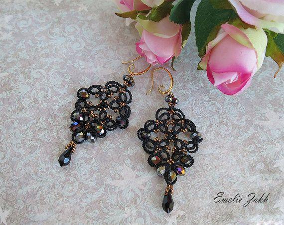 Check out Tatting lace chandelier earrings.  Earrings frivolite. Beaded earrings.Long earrings.Victorian style earrings.Filigrees earrings on ezdessin