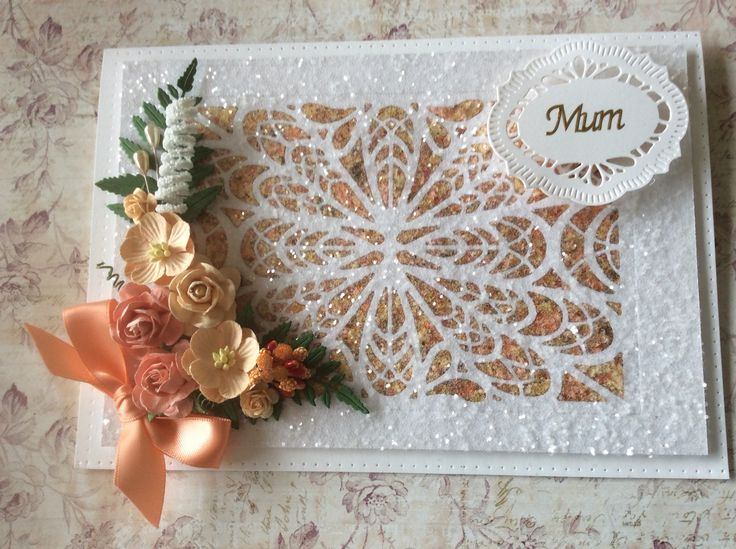 Using Sue Wilson dies, building flakes and Creative Expressions glitter and flowers in from my stash