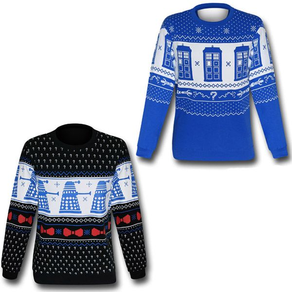 Doctor Who TARDIS and Dalek Christmas Sweater Sweatshirts