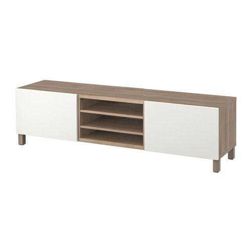 IKEA - BESTÅ, Banc TV avec tiroirs, motif noyer teinté gris/Lappviken blanc, glissière tiroir, fermeture silence, , Les tiroirs se referment doucement en silence grâce à la fonction intégrée de fermeture en douceur.Vous pouvez facilement dissimuler les câbles de la TV et tout autre équipement mais en les gardant à portée de main grâce aux ouvertures pratiquées au dos du banc TV.Le passe-câbles sur la partie supérieure de l'élément permet de regrouper et d'orienter faci...