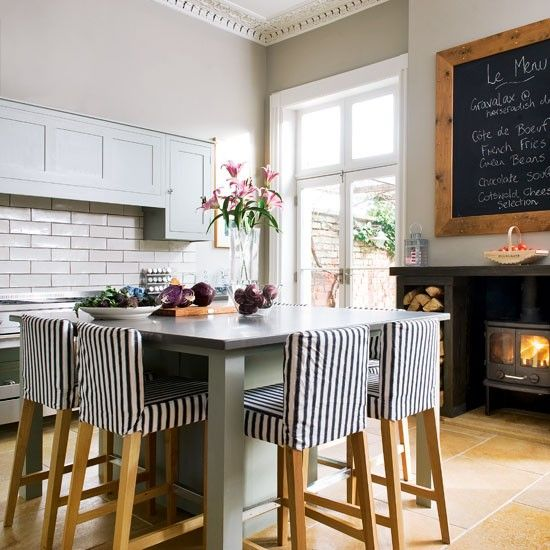 Love The Big Blackboard On Wall Quirky KitchenCosy KitchenKitchen IdeasHome IdeasDining TableDining