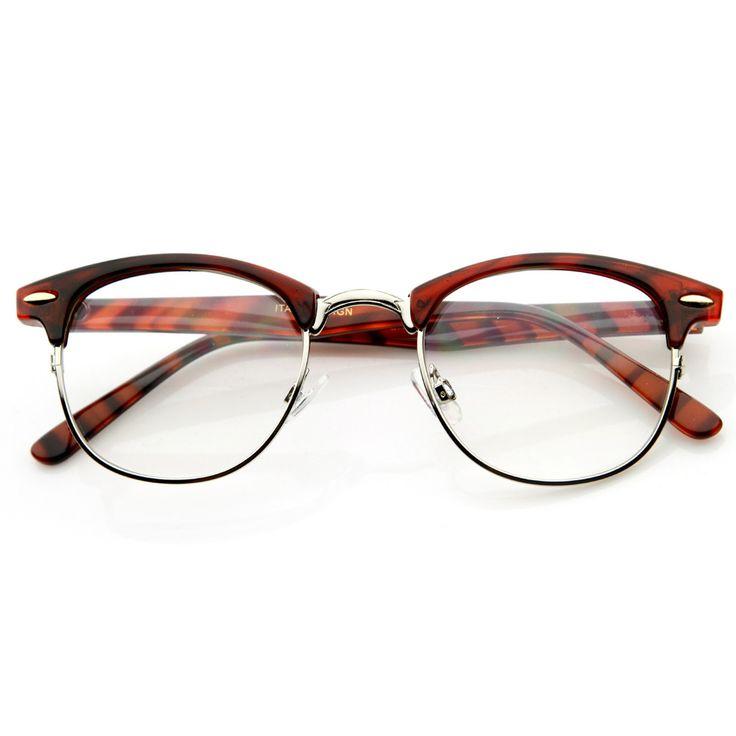 Vintage Optical RX Clear Lens Clubmaster Wayfarer Glasses 2946 Tortoise 75ff136cd184
