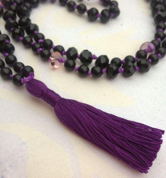 Happymala necklace black and purple glass/stone beads by happymala