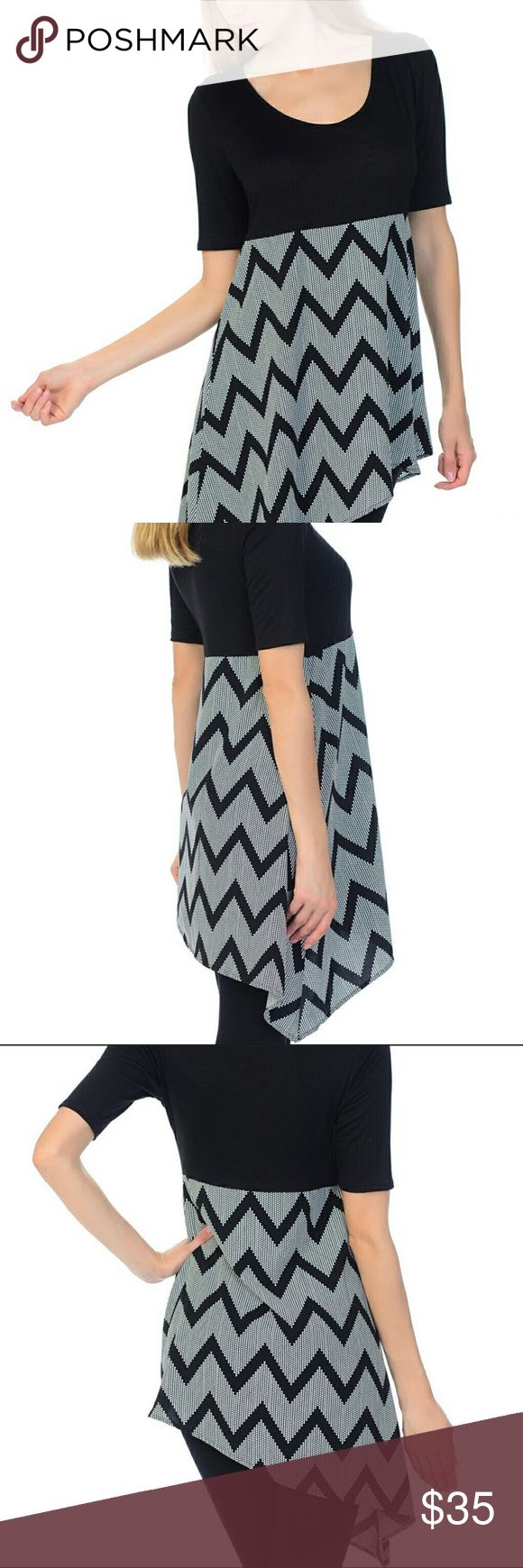 "JUST ARRIVED! Plus Size Chevron Assymetrical Tunic Plus size assymetrical tunic. Self: 97% rayon, 3% spandex, count: 100% polyester. Made in the USA. 28.5"" long. New. Bellino Clothing Tops Tunics"