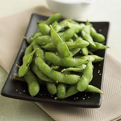 "Edamame isn't automatically low cal    Before you make an appetizer out of those delicious fiber-packed soybeans, ask how the pods have been prepared. If the answer is that they were simply steamed in water, they're an excellent pick, but ""some places toss them in oil after steaming them,"" Ginn reveals. ""So what starts out at 120 calories per half cup becomes 220."""