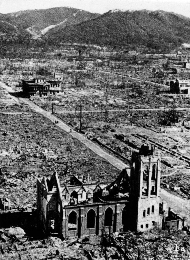 原子爆弾が投下された後に撮影された、壊滅状態に陥った広島市の市街(1945年撮影)。(c)AFP ▼6Aug2015AFP|【特集】原爆忌、AFP収蔵写真で振り返る悲劇 http://www.afpbb.com/articles/-/3056620 #Hiroshima