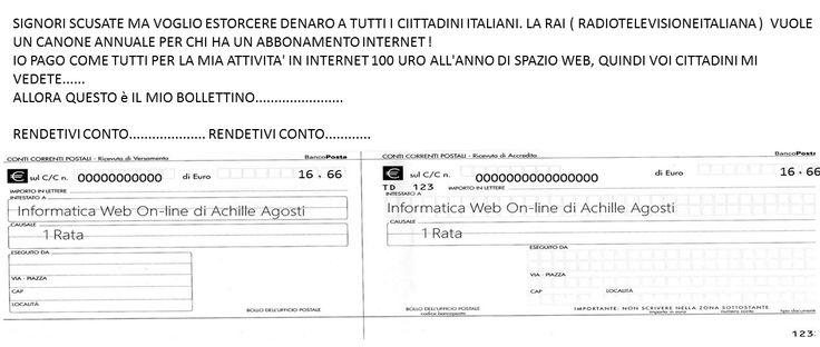 NON RICEVUTO LA PRIMA RATA DEL MIO CANONE, PER ESSERE SUL WEB E DARE LEZIONI DI INFORMATICA.....