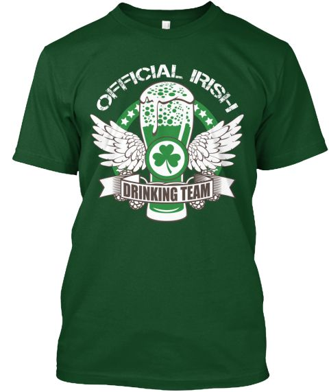 Official Irish Drinking Team Forest Green  T-Shirt Front