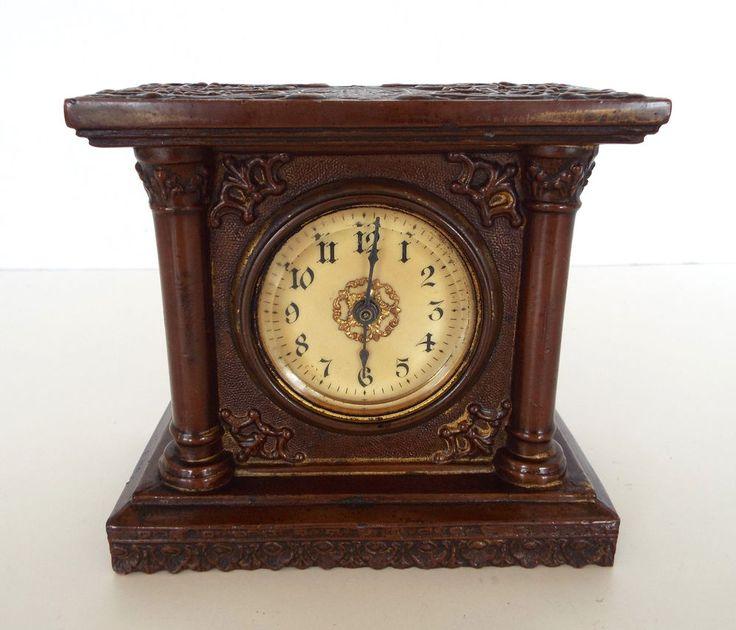Antique Metal Alarm Clock For Repair Ornate Art Nouveau Deco Miniature Mantle #ArtNouveau #Unknown