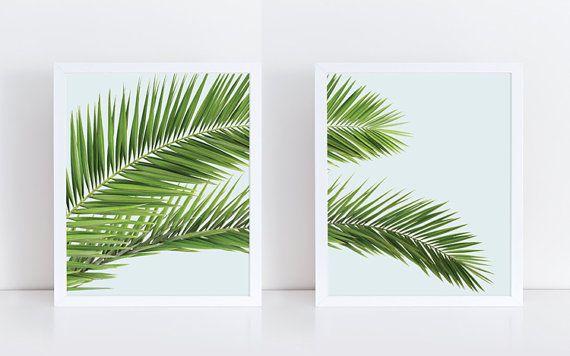 Palm blad afdrukken botanische Print Set, Plant Poster, kunst aan de grote muur, Instant Download, tropische Wall Decor, Cactus afdrukbare kunst, bananenblad