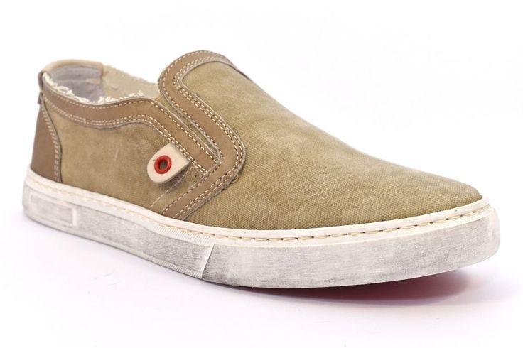 CAFè NOIR MQT921 273 TAUPE Sneakers QT921 Slip on Uomo Scarpa Tessuto Beige