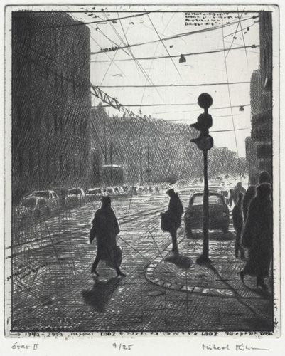 Mikael Kihlman, At the traffic light, drypoint, 11,9x9,8 cm, state II, 1997/2001