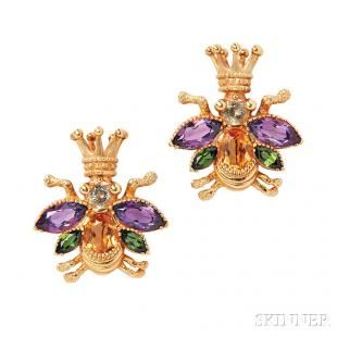 Pair of 18kt Gold Gem-set Insect Brooches, Cynthia Bach - Current price: $300
