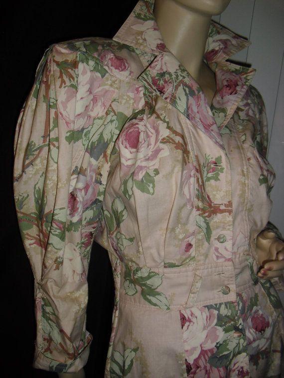 karen alexander pastel pale pink roses maxi by vintage50s60s70s