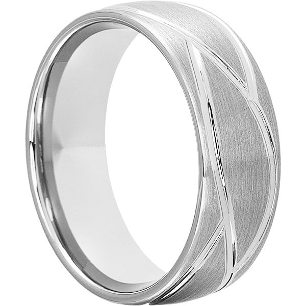 Caesar Tungsten Mens Rings 8mm Brushed Carved