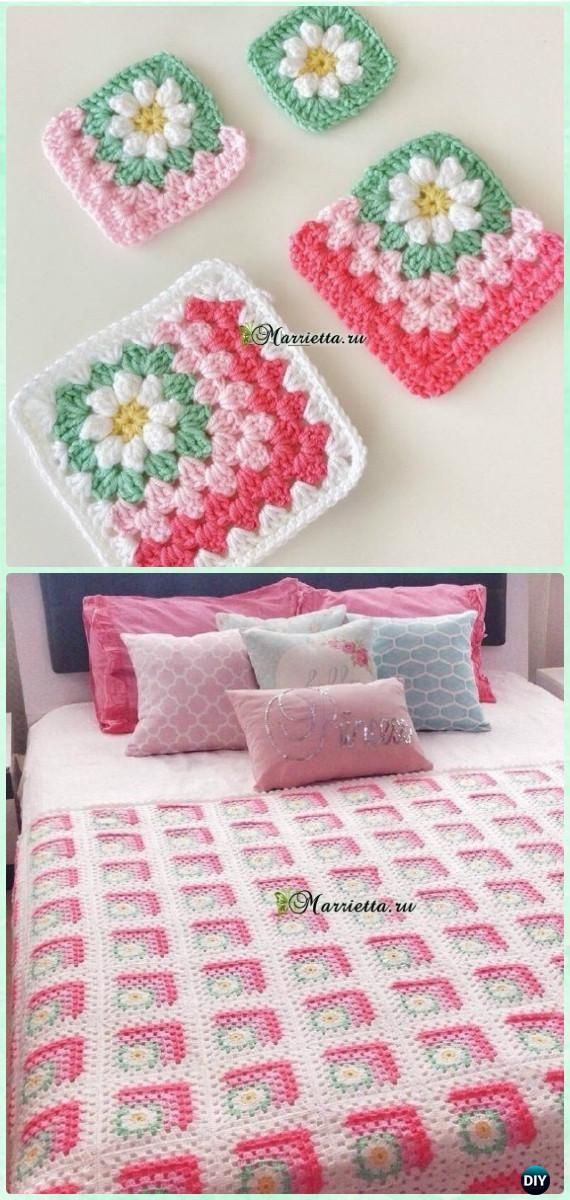 Crochet Mitered Daisy Square Blanket Free Chart -
