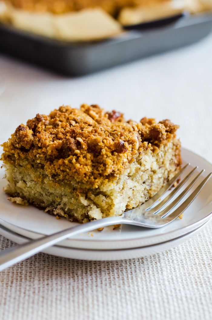 Irresistibly moist and flavorful banana coffee cake with the crunchiest graham cracker streusel made with honey roasted almonds.