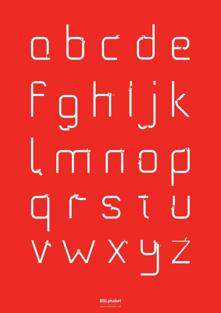 BSLphabet  --  By  Nick Beese  --  A unique new typefont, which fuses the British Sign Language alphabet with the written alphabet.