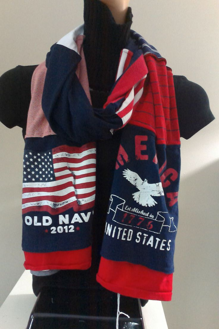 $15.00 - ITEM #USA03: American Red White and Blue scarf. Measures approx.. 84 in long.