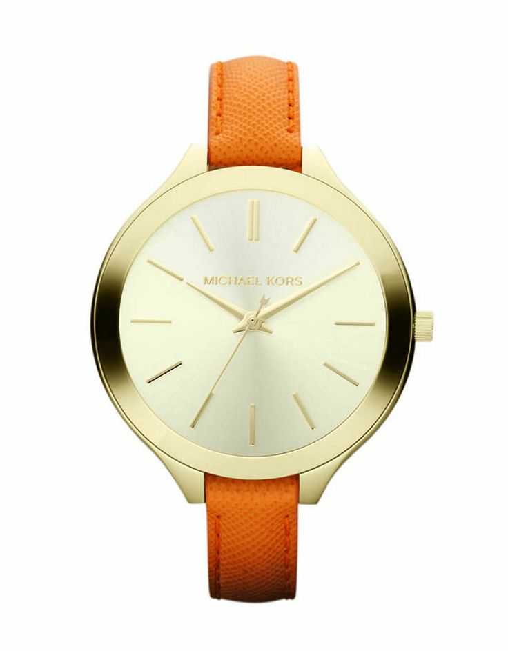 Jewellery & Accessories   Women's Watches   Women's Gold Tone And Orange Leather Strap Slim Runway Watch   Hudson's Bay