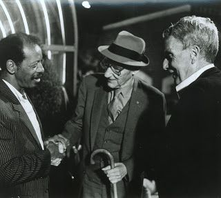 Pictured above, Ornette Coleman (born 9 March 1930), shaking hands with William S. Burroughs (1914-1997), with R. Buckminster Fuller (1895-1983).'You don't have to worry about being a number one, number two, or number three. Numbers don't have anything to do with placement. Numbers only have something to do with repetition.'–Ornette ColemanOrnette Coleman and his sextet, playing Free Jazz in Germany, 1978 here.Ornette Coleman talking with Jaques Derrida, 1997 here.