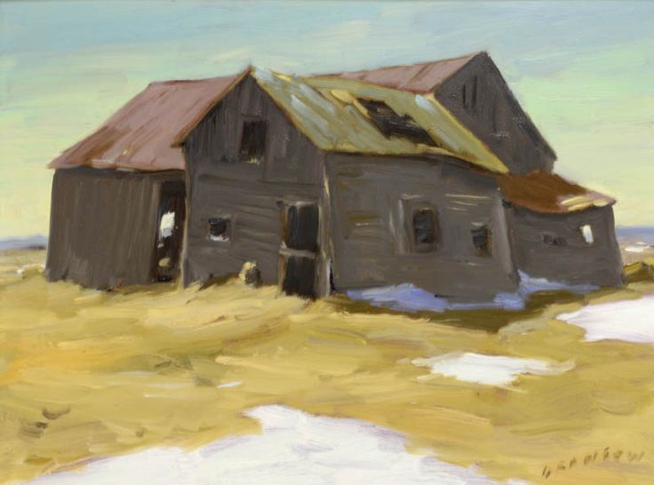 "Helmut Gransow  Helmut Gransow, RCA, CPE, PDCC (1921-2012) ""Abandoned barns"" Oil on masonite Signed lower left. Signed, titled and dated '87 on reverse. 12"" x 16"""