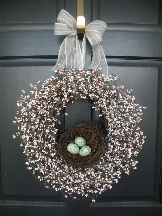 Robin's Egg Nest Berry Wreath by bodaul on Etsy, $68.00