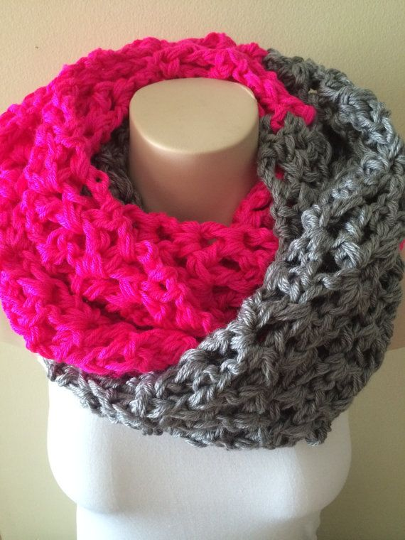 iScarf  Long Crocheted Infinity Scarf  Grey/Neon Pink by iHooked, $30.00
