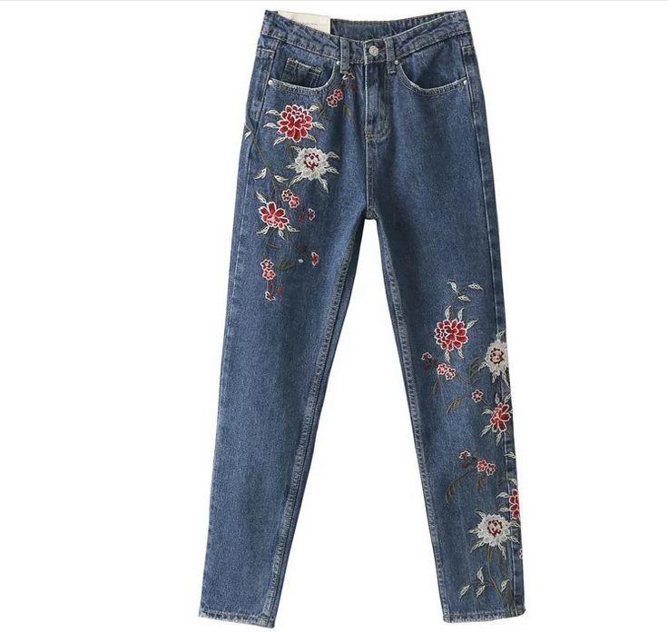 Новые джинсы женщина джинсовые брюки цветок вышитые досуг джинсы брюки для женщин свободные синие Карманы прямые джинсы женщин нижняя купить на AliExpress