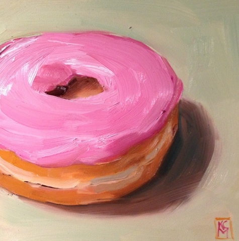 In The Pink, 6x6 Inch Oil Painting of a Donut by Kelley MacDonald, painting by artist Kelley MacDonald - I do love cake doughnuts!