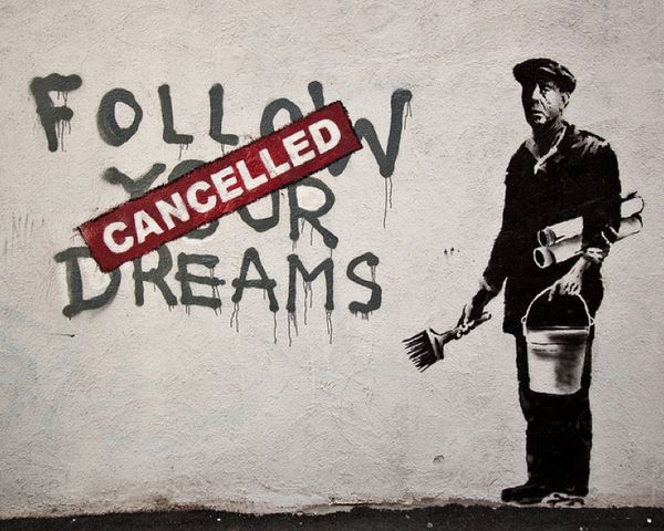 This graffiti by banksy explores the idea of our dreams being dictated by society's expectations. In order for us to continue to live amongst the norm, we are at constant war with society's view on life. This image is a metaphor for how much control we actually have over our decisions