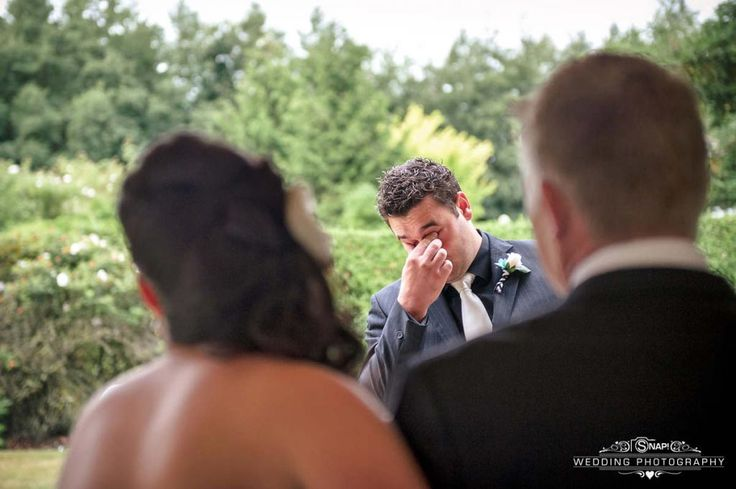 Groom tears up as his Bride approaches him down the aisle.   More wedding photography by Anthony Turnham at www.snapweddingphotography.co.nz