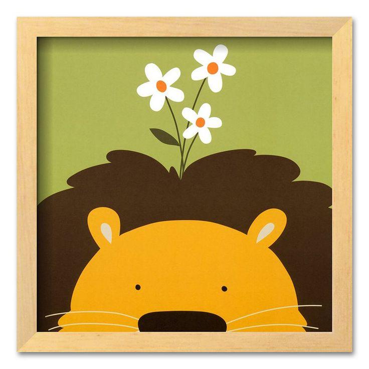 "Art.com ""Peek-a-Boo IX, Lion"" Brown Framed Art Print by Yuko Lau, Multicolor"