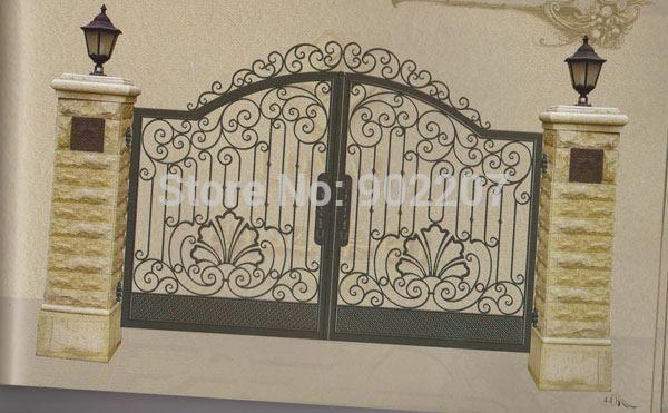 Henchuang鍛造アイアンゲート鍛造鉄ゲイツヴィラ錬鉄製の門鋼金属鉄ゲートデザイン