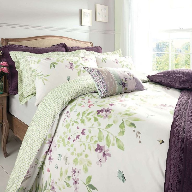 Wisley Floral Green Duvet Cover and Pillowcase Set | Dunelm