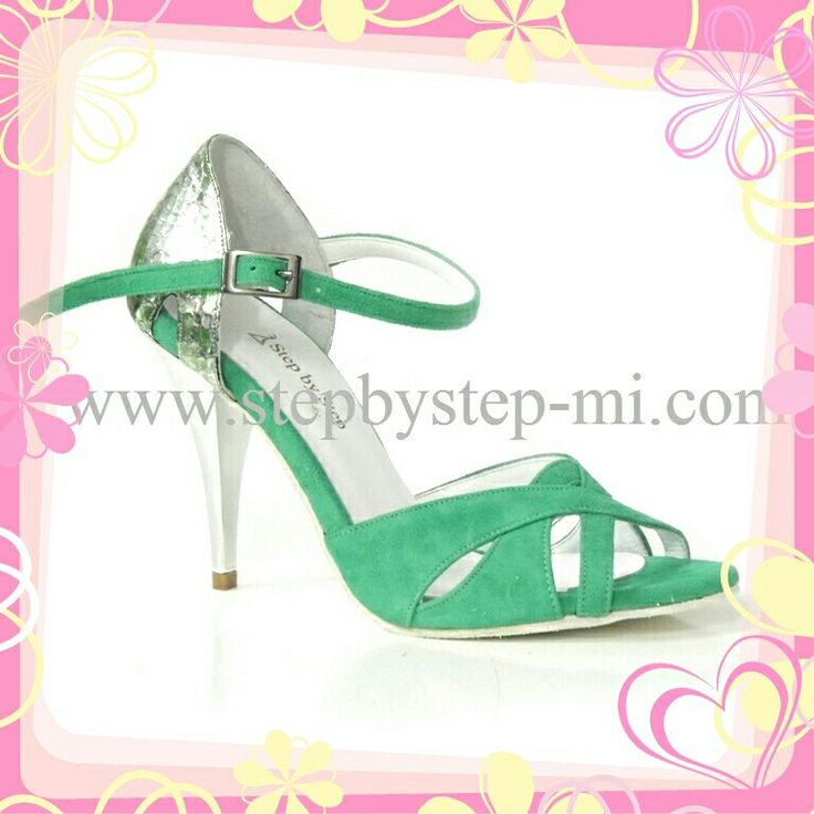Sandalo in camoscio verde evpelle pitonata verdeargento #stepbystep #sandal #sandals #salsa #bachata #scarpedaballo