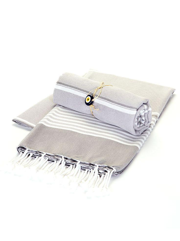 Beach Towel - Grey Stripe