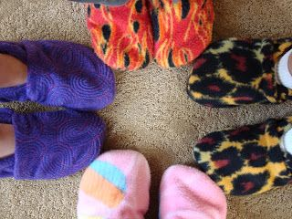 I picked up some fleece the other day for some slippers for the kids…..really should have kept these for christmas presents…..but i have a problem hiding, and then keeping them that long. So here we go. I searched the web for some free slipper patterns. I found a few, but finally ended up with this …